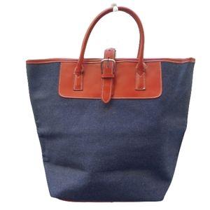 Blue Canvas with Red Trim Tote Handbag